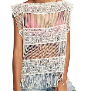 ANTHROPOLOGIE Inez Crocheted Cream Sweater Size S